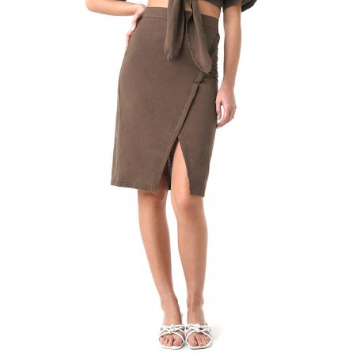 NA-KD Overlap Linen Look suknja