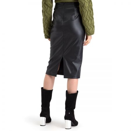 NA-KD Faux Leather Midi suknja