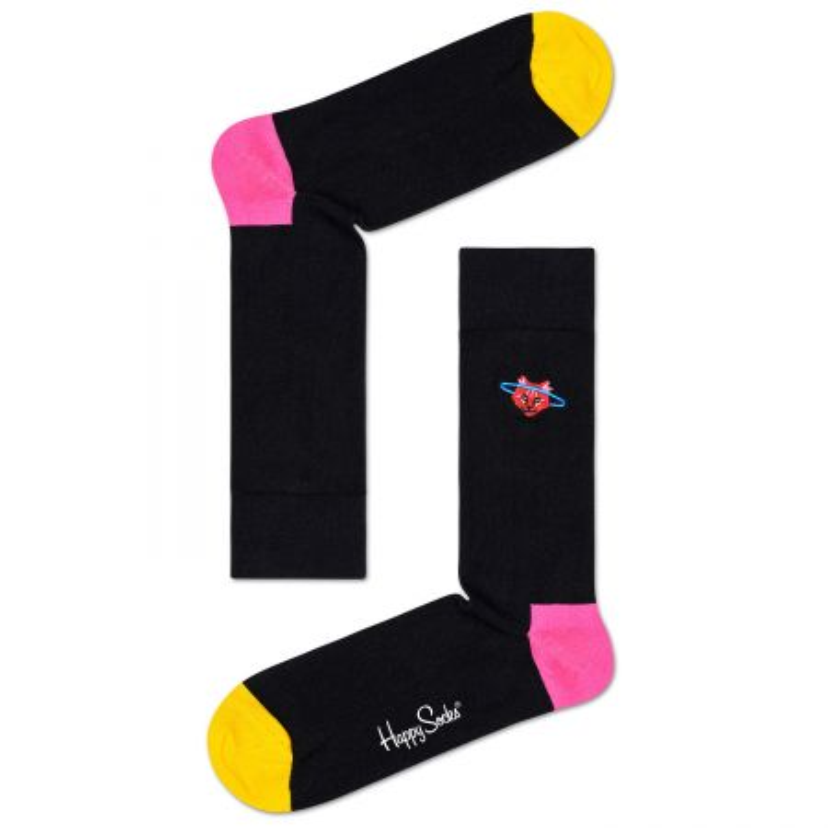 Happy Socks Embroidery Space Cat Crew čarape