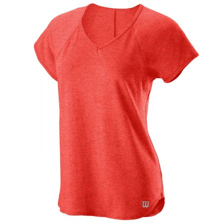 W TRAINING V-NECK TEE Hot Coral