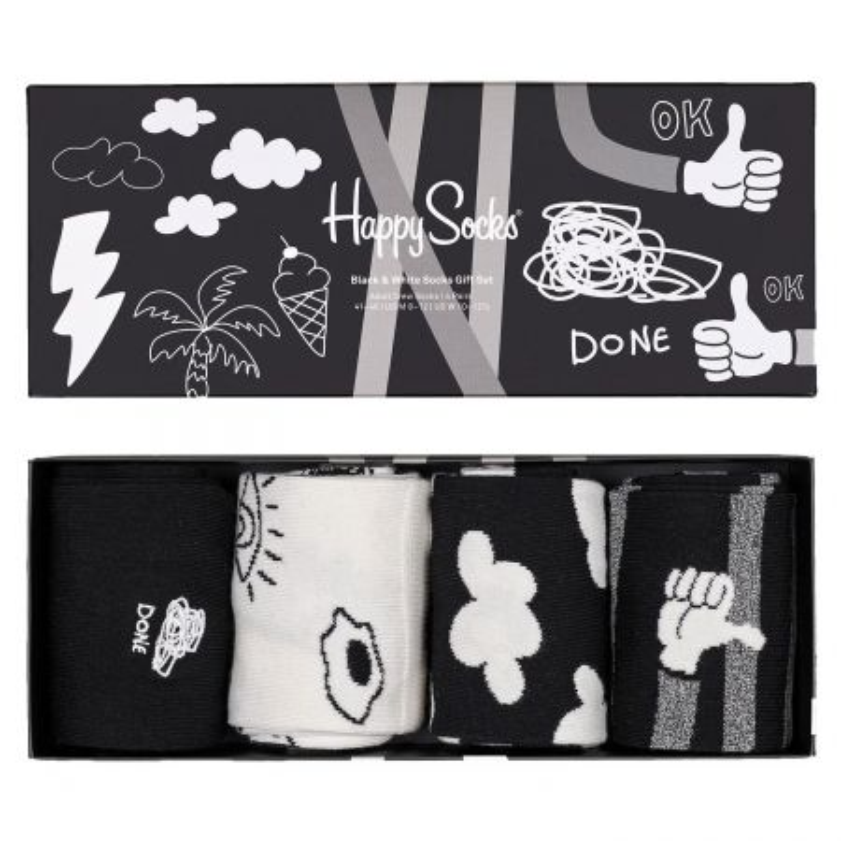 Happy Socks 4-Pack Black And White čarape