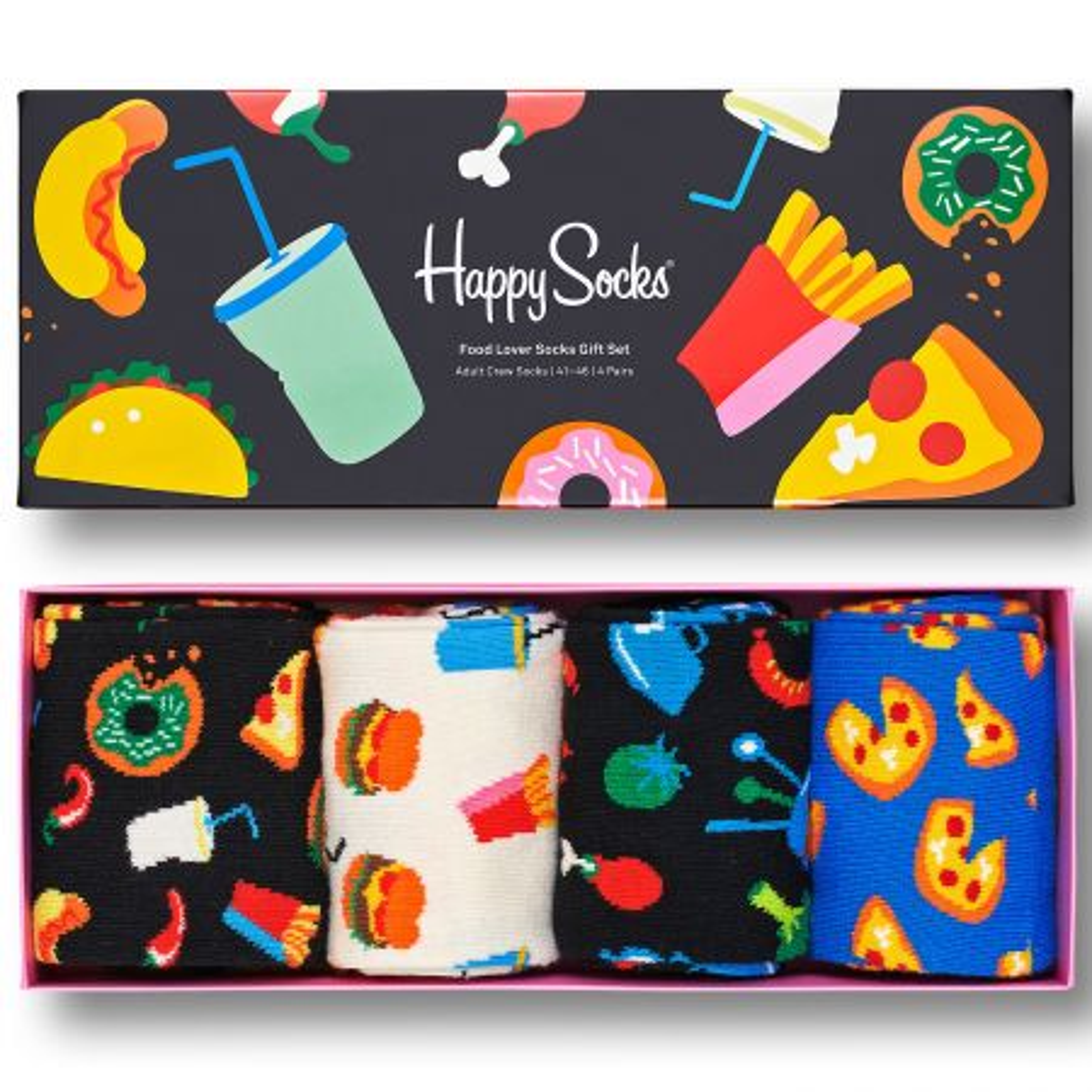 Happy Socks 4-Pack Food Lover Socks Gift Set čarape